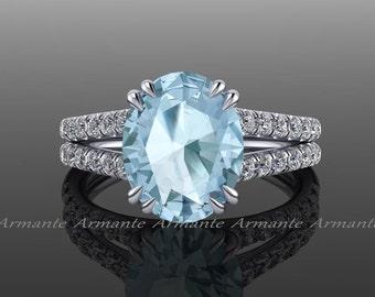 Aquamarine Engagement Ring 18k White Gold Split Shank Oval Aquamarine And Diamond Ring