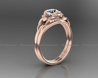 White Sapphire Engagement Set, Sapphire And Diamond Bridal Set, Flower Leaf Wedding Set, 14k Rose Gold. Re00179rws