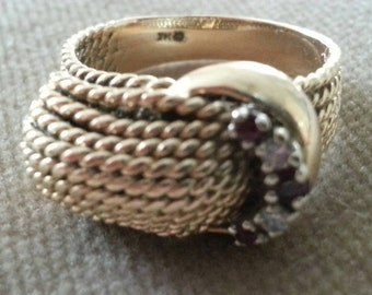 Vintage 14k Gold Ring with Rubies and Diamonds Size 9, Rope Design