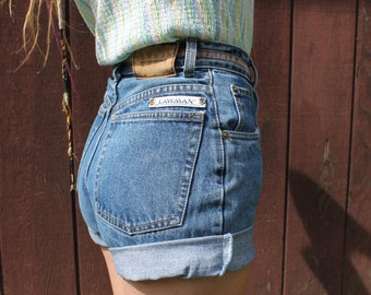 Vintage High Waisted // Denim Cut Off Jean Shorts // Womens Medium Wash // By Lawman Jeans // Womens Size 5