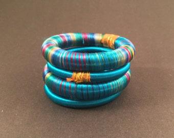 4 blue silk thread wrap bracelet bangle india