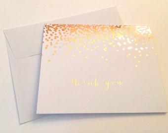 Rose Gold FOIL Confetti Thank You card