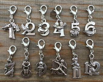 Twelve Days of Christmas Stitch Markers, a set of holiday theme progress keepers