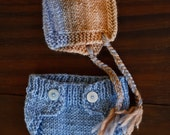 Custom listing* - Woolen newborn size knitting bonnet, pants and nappy covers