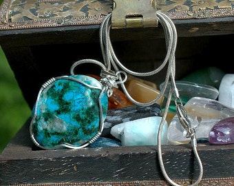 Natural Chrysocolla blue mineral pendant silver wire wrapped with a necklace
