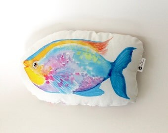 Fish pillow. Under the Sea nursery pillow. Nautical nursery decor.  Kids room decor. Fish nursery decor. Tropical fish soft toy. Kids gift.
