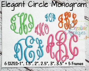 6 SIZES! Elegant Master Circle Embroidery Monogram Alphabet Font Digital Machine Embroidery Design + 5 FRAMES, monogram font, circle font