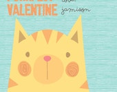 "Purrfect Valentine 4.25"" x 5.5"" Personalized Class Valentines - DIY Printable PDF"