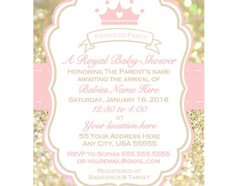 baby shower invitation girl princess  etsy, Baby shower invitations