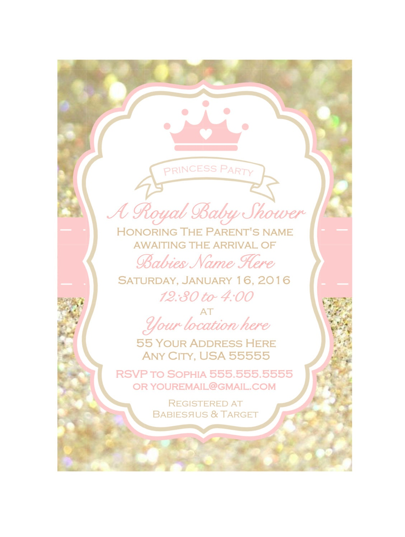 Printable girl baby shower Invitation baby shower invite