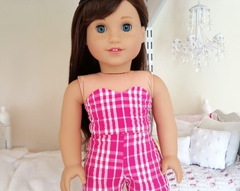 american girl doll pink plaid shorts and bustier