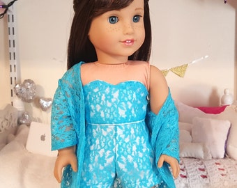 18 inch doll blue lace three piece outfit