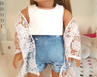 18 inch doll white crop top