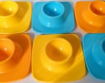 FREE UK DELIVERY! Plastic Fantastic! Retro 60s - 70s Multi Coloured Melamine Stacking Egg Cups. Set of 6.
