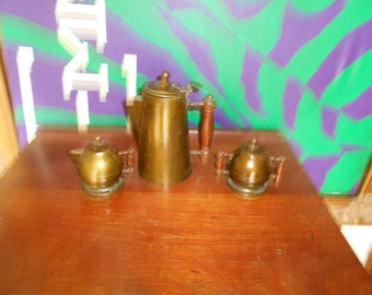 1920s - 30s Deco Chocolate Set by Brass by Blake