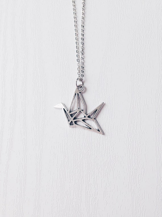 Silver Origami Crane Necklace Paper Cut Out Crane By Kukeeuk