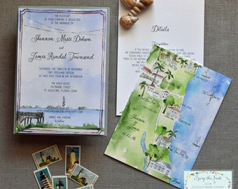 Wedding Invitation Suite - Watercolor Invitations - Florida Wedding - Custom Wedding Map - St. Augustine Wedding - Beach Wedding