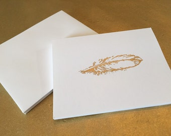 Gold Embossed Feather Stationery