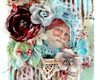 Shabby Chic Vintage Handmade Mixed Media Christmas Greetings Card - Believe In The Magic