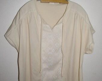 Vintage Cream Polyester Top