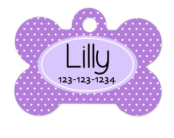 Personalized Dog Tag - Dog ID Tag - Personalized Bone Dog Tag - Pet Gift - Custom Pet ID Tag - Lavendar Purple Polka Dot