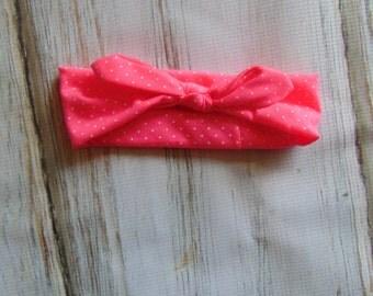 Hot Pink and White Polka Dot Top Knot Headband