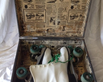 Vintage Official Roller Derby Skates with Metal Carrying Case