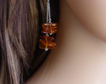 Natural Polished Amber Pebble Drop Earrings