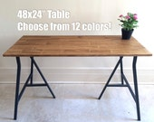 48x24 Hand-Finished Wood Table on Ikea Trestle Legs. Choose any color!