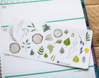 Tree branches and leaves - decorative woodland watercolour planner stickers suitable for any planner 198