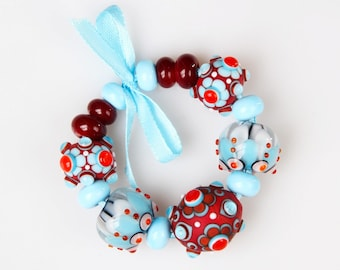 Lampwork Bead Set; Blue, White, Red Beads.