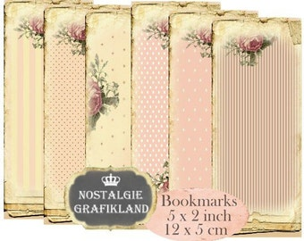 Shabby Bookmarks Instant Download digital collage sheet E171 Vintage Pastel Paper