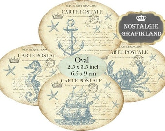 Nautical Labels Anchor Ship Seahorse Maritime Ovals 3.5 x 2.5 inch Instant Download digital collage sheet O120 Sea Ocean