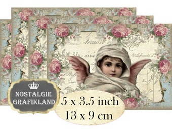 Shabby Chic Angels Cherubs Christmas Noel Anges Instant Download digital collage sheet P179