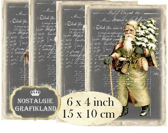 Father Christmas Santa Claus Chalkboard printable 6 x 4 inch Instant Download digital collage sheet D137 Vintage