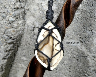 Petrified Wood Necklace / Petrified Wood Slice / Hemp Wrapped Petrified Wood / Petrified Wood Jewelry / Earthy Tones