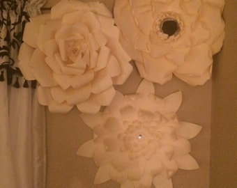 Paper Flowers Giant set of 12 flowers - 24 inch (one of each shown)