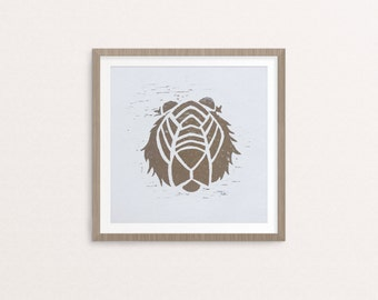 Not so Hungry Tiger Linocut Print