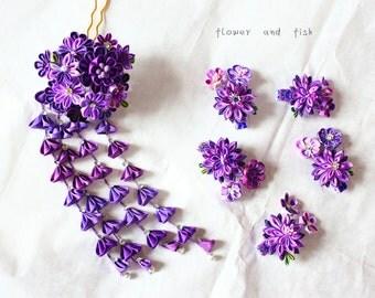 Purple wedding-bridal hair flower-wedding flower set, bridal  hair pin party, silk hair flower, kanzashi flower(six pieces)-B01