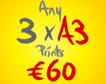 Any 3 A3 prints for 60