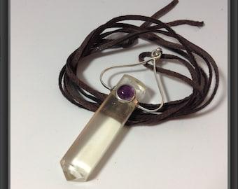 SALE -Quartz with amethyst pendant