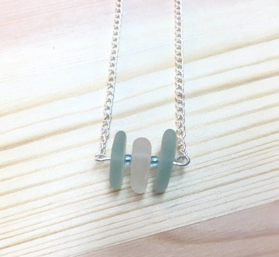 Dainty Aqua and Frosty White Seaglass Necklace