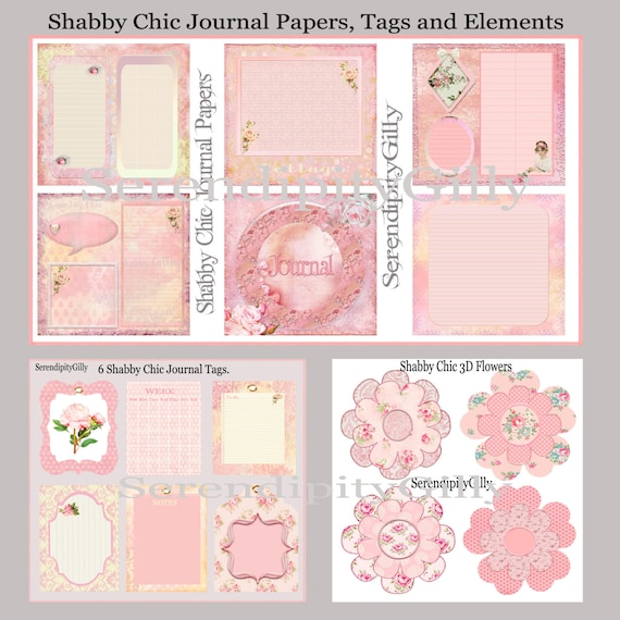 Shabby Chic Journal Paper Tags And Flower Elements