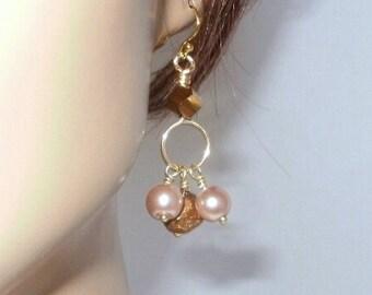 Charm Earrings, Dangle Style, Gold Plated Hook, Faux Pearls, Czech Glass, Contemporary Look, Casual Wear, Resort Wear, Fun Earrings, Neutral