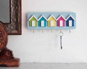 Shoreline. Shabby Chic Beach Hut Key Rack, Five Hooks for Keys, Painted in our 'Shoreline' Colour Scheme