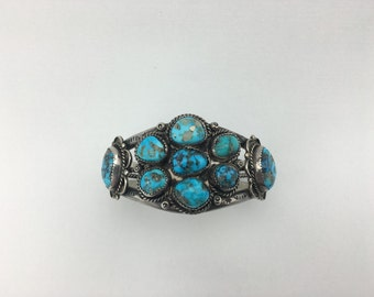 Huge and Gorgeous Sterling Silver and Turquoise Hand Stamped Cuff
