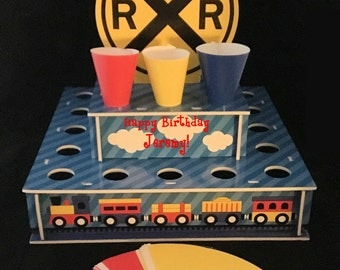 Personalized Train Birthday Party Theme Snack Cone Stand w/ Cones~Conductor~Thomas the Tank Engine~Chuggington~Customized ~Railroad