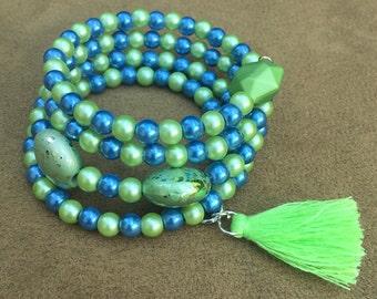 Neon Green Bracelet, Boho Jewelry, Memory Wire Bracelet, Neon Green Tassle, Beaded Bracelet, Funky Jewelry, Wrap Bracelet, Cuff Bracelet