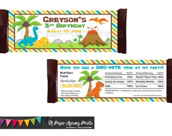 Dinosaurs Candy Wrapper - DIY Printable