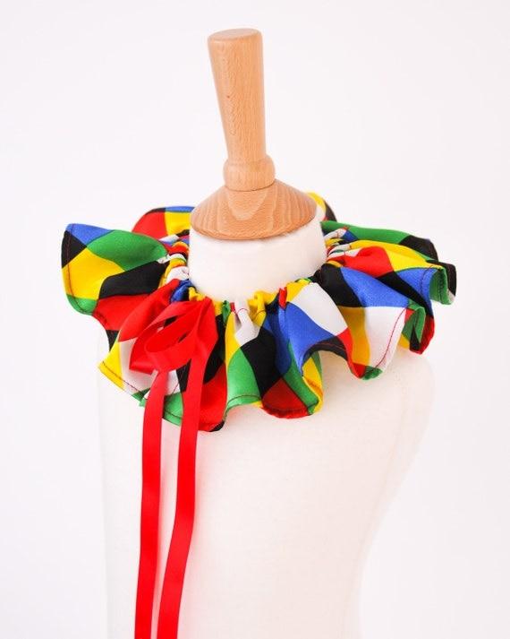 Multicolour Harlequin Collar | Colourful Jester Clown Collar for Circus, Mardi Gras, Carnival Costume